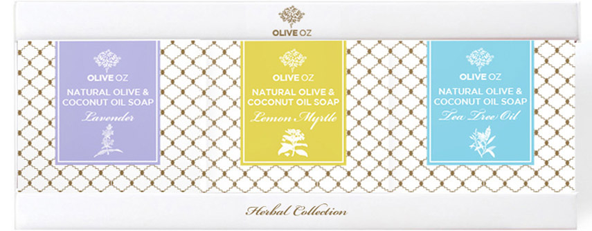 Olive Oz Herbal soap branding and packaging